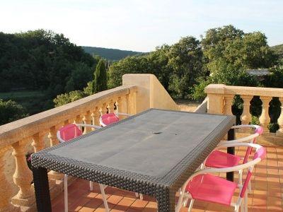 Terrasse vue panoramique Gîte les Figuiers au Mas d'Eylieux à Saint Montan